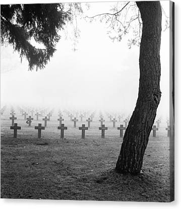 Mist At Cemetery Canvas Print
