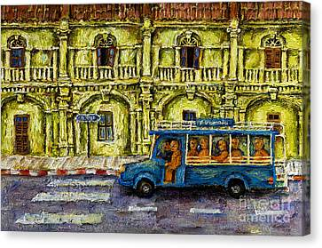 6 Monks In Phuket Town Canvas Print by Nalidsa Sukprasert