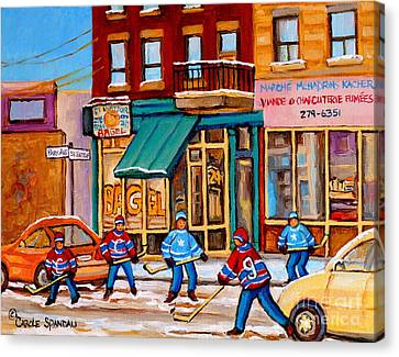 St.viateur Bagel Canvas Print - Montreal Paintings by Carole Spandau