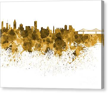Montreal Skyline In Watercolor On White Background Canvas Print by Pablo Romero