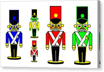6 Nutcracker Soldiers On Black Canvas Print by Asbjorn Lonvig