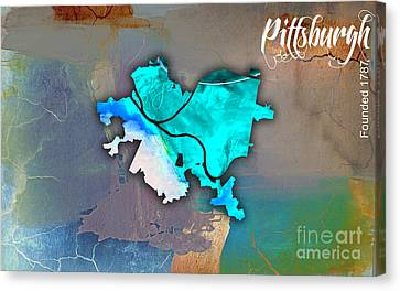Pittsburgh Map Watercolor Canvas Print