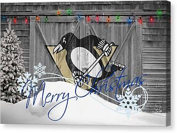 Christmas Greeting Canvas Print - Pittsburgh Penguins by Joe Hamilton