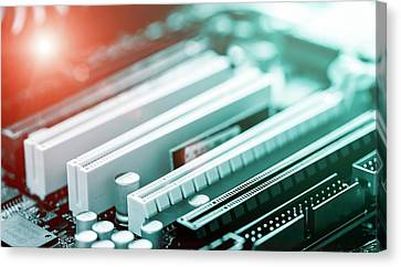 Electronic Component Canvas Print - Printed Circuit Board by Wladimir Bulgar