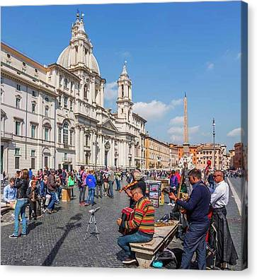 Rome, Italy. Piazza Navona Canvas Print by Ken Welsh