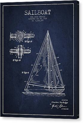 Technical Canvas Print - Sailboat Patent Drawing From 1938 by Aged Pixel