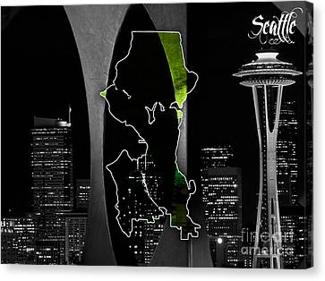 Seattle Map And Skyline Watercolor Canvas Print