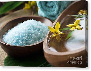 Spa Setting With Flower Canvas Print by Mythja  Photography