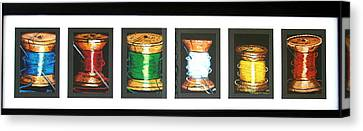 Canvas Print featuring the drawing 6 Spools by Joseph Hawkins