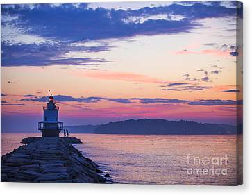 New England Lighthouse Canvas Print - Sunrise At Spring Point Lighthouse by Diane Diederich