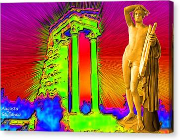 Sun Rays Canvas Print - Temple Of Apollo by Augusta Stylianou