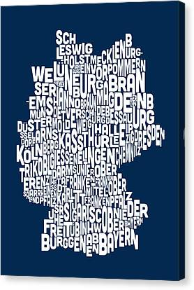 Text Map Of Germany Map Canvas Print