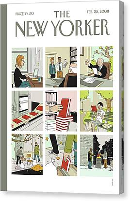 Shelf Canvas Print - New Yorker February 25th, 2008 by Adrian Tomine