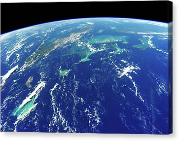 Turks And Caicos Islands Canvas Print - View Of Planet Earth From Space Showing by Panoramic Images