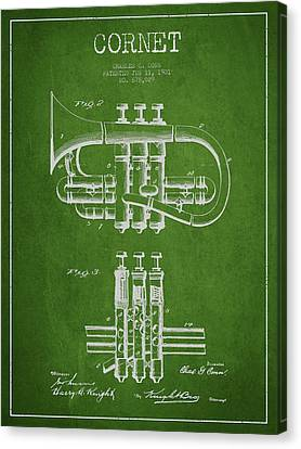 Cornet Patent Drawing From 1901 - Green Canvas Print by Aged Pixel