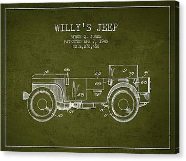 Vintage Willys Jeep Patent From 1942 Canvas Print by Aged Pixel