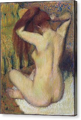 Woman Combing Her Hair Canvas Print - Woman Combing Her Hair by Edgar Degas