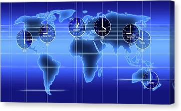 World Map Illustration With Time Zones Canvas Print by Alfred Pasieka