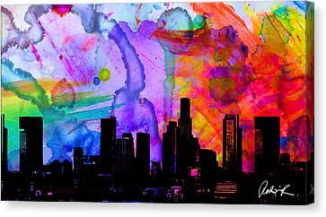 60x34 Panoramic Watercolor Skyline Www.splashyartist.com Canvas Print