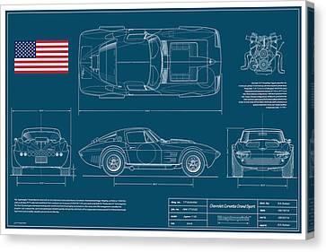 Chevy Coupe Canvas Print - '63 Corvette Grand Sport Blueplanprint by Douglas Switzer