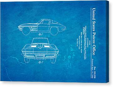 '63 Corvette Stingray Patent Art 1962 Blueprint Canvas Print