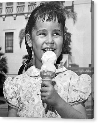 Cream Canvas Print - Girl With Ice Cream Cone by Underwood Archives