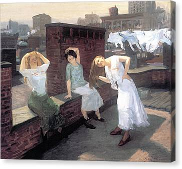 Woman Combing Her Hair Canvas Print - Sunday Women Drying Their Hair by John Sloan