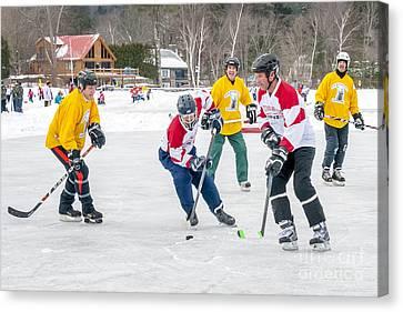 Pond Hockey Canvas Print - 6th Vermont Pond Hockey by Jim Block