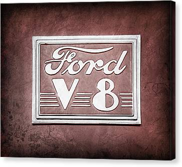 Ford V8 Canvas Print - 1940 Ford Deluxe Coupe Emblem by Jill Reger