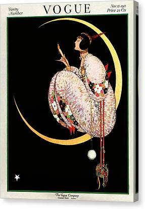 Floral Canvas Print - A Vintage Vogue Magazine Cover Of A Woman by George Wolfe Plank