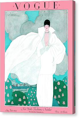 Necklace Canvas Print - A Vintage Vogue Magazine Cover Of A Woman by Georges Lepape