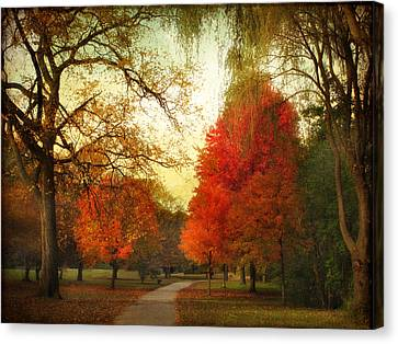 Canvas Print featuring the photograph Autumn Promenade by Jessica Jenney