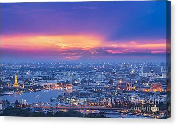Bangkok City Canvas Print by Anek Suwannaphoom