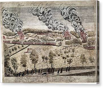 Battle Of Lexington, 1775 Canvas Print by Granger