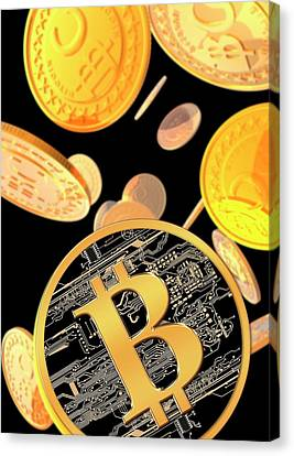 Bitcoins Canvas Print by Victor Habbick Visions