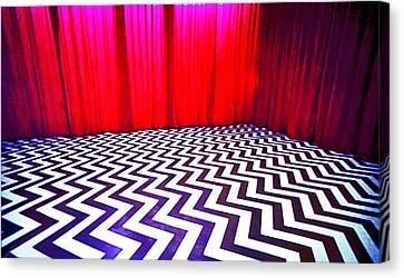 Canvas Print featuring the painting Black Lodge by Luis Ludzska