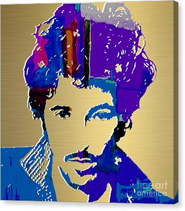 Celebrities Canvas Print - Bruce Springsteen Gold Series by Marvin Blaine