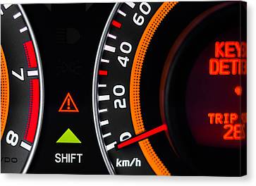Car Speed Meter Closeup Canvas Print by Oliver Sved