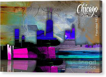 Illinois Canvas Print - Chicago Skyline Watercolor by Marvin Blaine