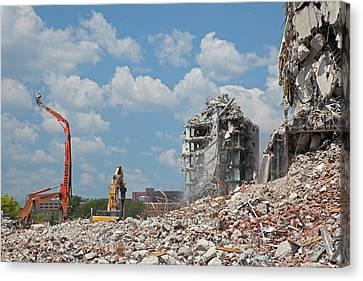 Demolition Of Detroit Housing Towers Canvas Print by Jim West