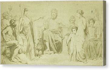 Drawing By F. Barrias, Virgil Scene From The Aeneidos Canvas Print
