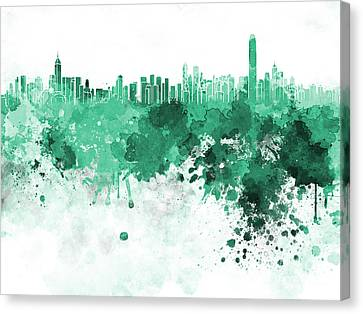 Hong Kong Canvas Print - Hong Kong Skyline In Watercolor On White Background by Pablo Romero