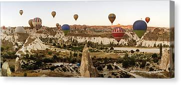 Eco-tourism Canvas Print - Hot Air Balloons Over Landscape by Panoramic Images