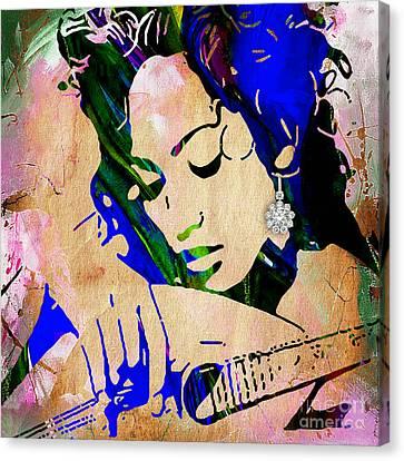 Movie Stars Canvas Print - Jennifer Lopez Collection by Marvin Blaine