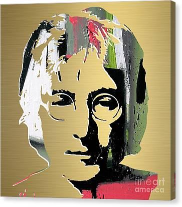John Lennon Gold Series Canvas Print by Marvin Blaine