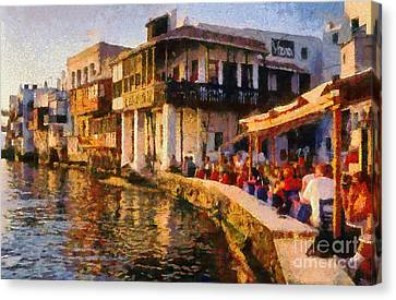 Cyclades Canvas Print - Little Venice In Mykonos Island by George Atsametakis