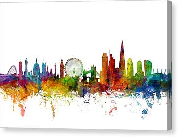 Silhouettes Canvas Print - London England Skyline by Michael Tompsett