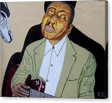 Canvas Print featuring the painting Mannish Boy. Muddy Waters. by Ken Zabel