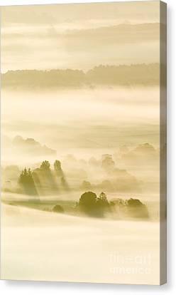 Morning Mist Over Farmland Canvas Print