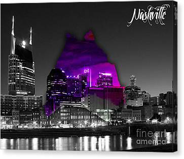 Nashville Skyline And Map Watercolor Canvas Print by Marvin Blaine